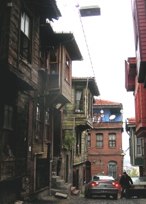 The old wooden houses in the Suleymaniye district of Istanbul