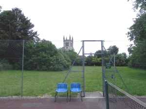 The blue chairs and the parish church