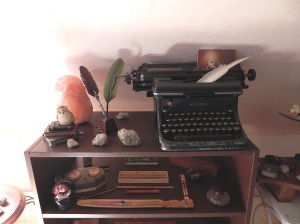 Typewriter with feather